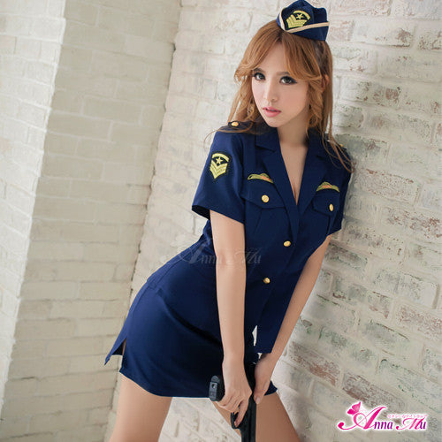 Lingeriecats Sexy Navy Blue Handsome Police Outfit Cosplay 3pcs - LingerieCats