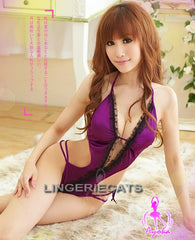 Purple Indulgence Teddy, Asian Lingerie, Japanese Lingerie, Sexy Teddy, Halloween Costume, Sexy Babydoll Slip, Lingeriecats,