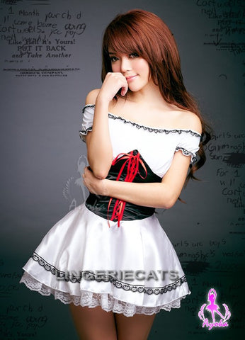 Sleek Maiden Costume, Sexy French Maid Costume, Asian Lingerie, Japanese Lingerie,  Lingeriecats