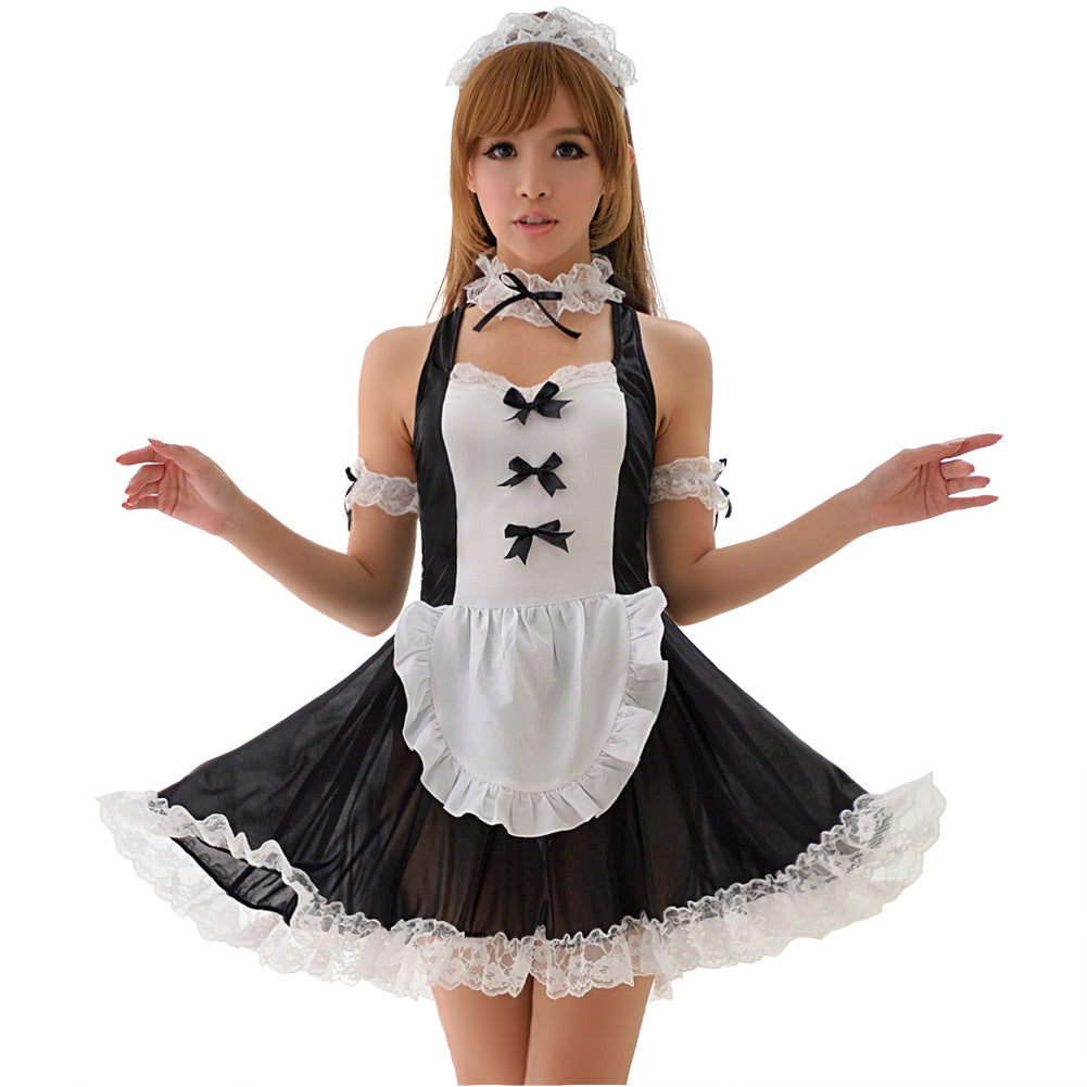 LINGERIECATS Black and White Bow Knots Lace Halter 4pcs Maid Costume Set - LingerieCats