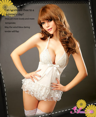 Coquettish Sheer Halter-Neck Chemise Set