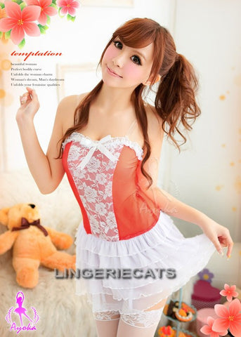 Red Hot 5 Pcs Babydoll Set with Stocking - LingerieCats