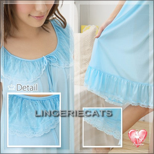 Romantic Ruffled Rayon Chemise - LingerieCats