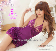 Hot Halter-Neck Rayon Chemise Set, Lingeriecats, Babydoll, sexy lingerie, asian lingerie