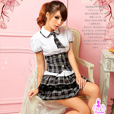 (Discn't) Lingeriecats Sexy Lovely School Girl 4 Pcs Costume