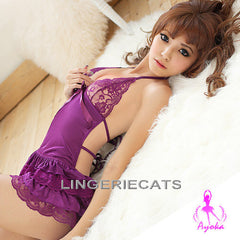 Hot Halter-Neck Rayon Chemise Purple - LingerieCats
