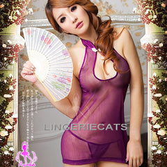 Chinese Purple Doll Cheongsam Costume - LingerieCats