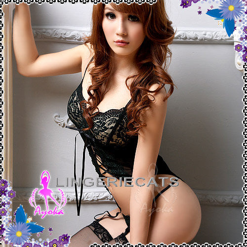 Beautiful Sheer Corset Set - LingerieCats