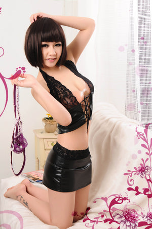 Sexy Black Leather Lingerie - LingerieCats