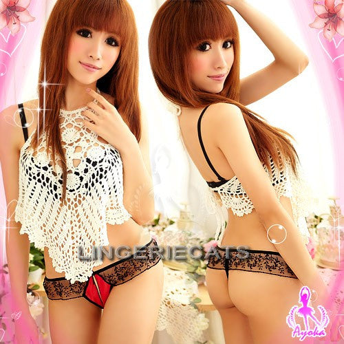 Stylish Seduction Bikini 3 Pcs Crotchless Panties Set - LingerieCats