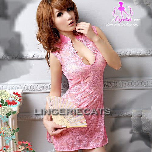 Hot Lace Chinese Cheongsam Costume - LingerieCats