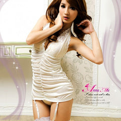 Sexy White V-Neck Chemise Lingerie Dress