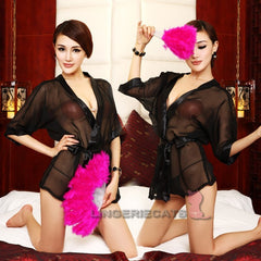 Black See-Through Lingerie Kimono Robe - LingerieCats