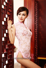 Chinese Inspired See-Through Lingerie Costume Dress Pink 2