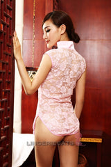 Chinese Inspired See-Through Lingerie Costume Dress Pink - LingerieCats