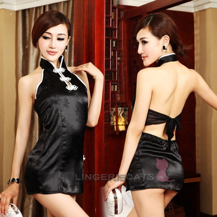 Chinese Inspired Clubwear Costume Dress Black - LingerieCats