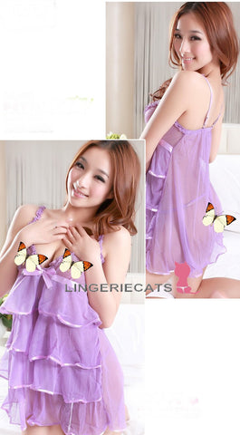Purple Layered Cake Skirt Babydoll Lingerie (Plus Size) - LingerieCats