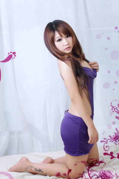 Purple Backless Clubwear Dress