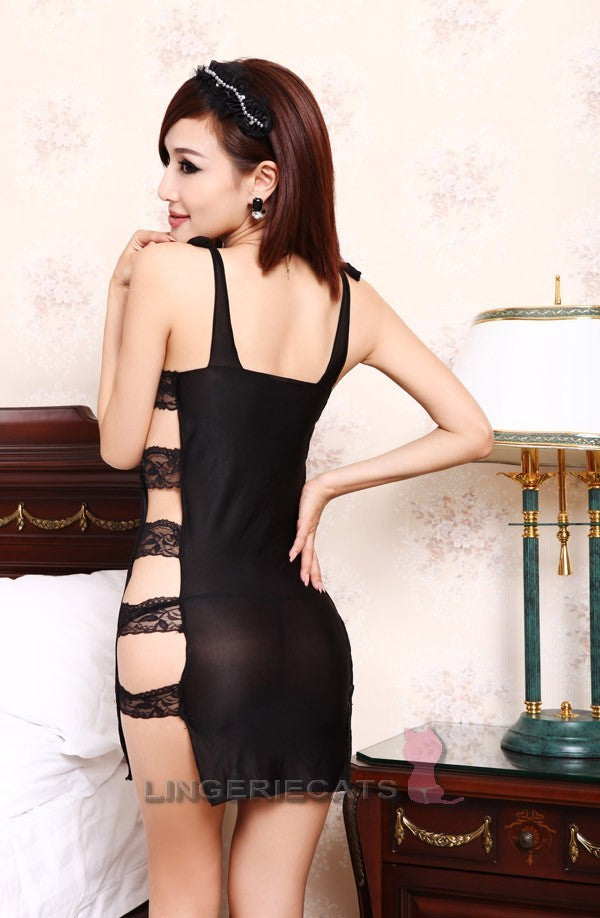 Sexy Side-open Black Lingerie Dress - LingerieCats