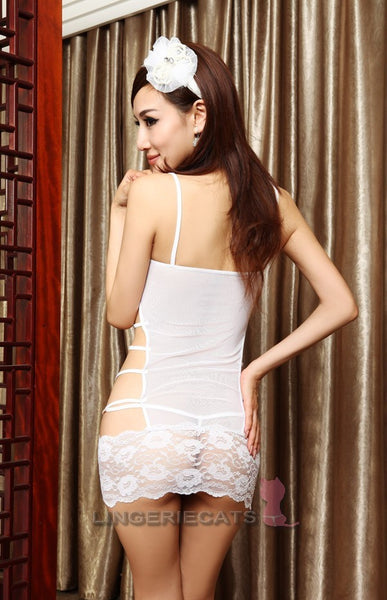 Sexy White See-Through Lingerie - LingerieCats