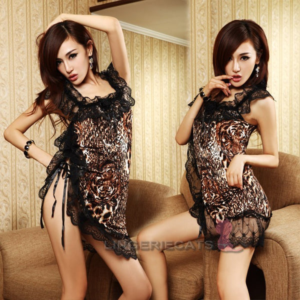 Sexy Black Leopard Clubwear Lace Lingerie Dress