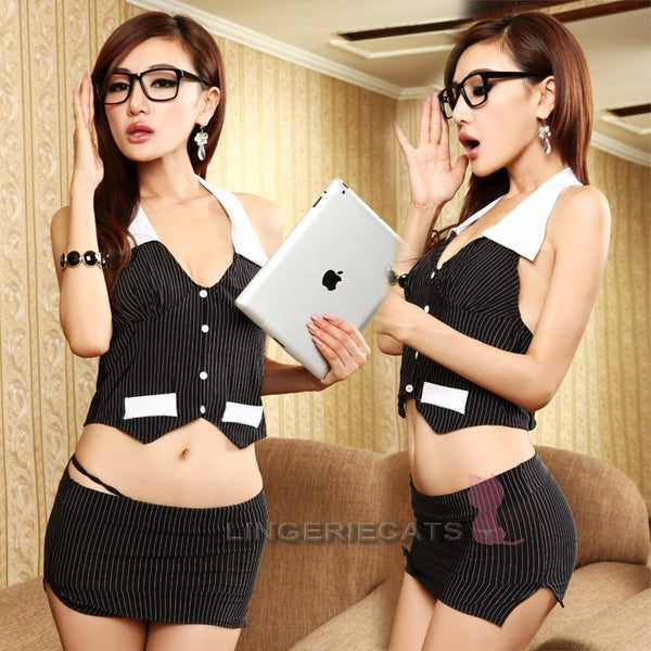 Hot Sexy Secretary Black Costume Cosplay 2 Pieces Outfit