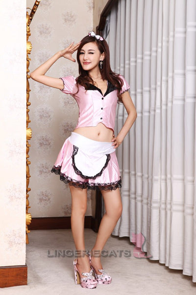 Sexy Pink Open-front Maid Cosplay 3 Piece Dress - LingerieCats