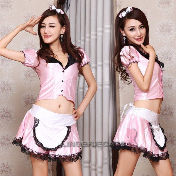 Sexy Pink Open-front Maid Cosplay 3 Piece Dress