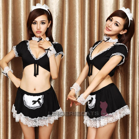 Black Open-Front Maid Cosplay 5 Piece Lingerie Set - LingerieCats