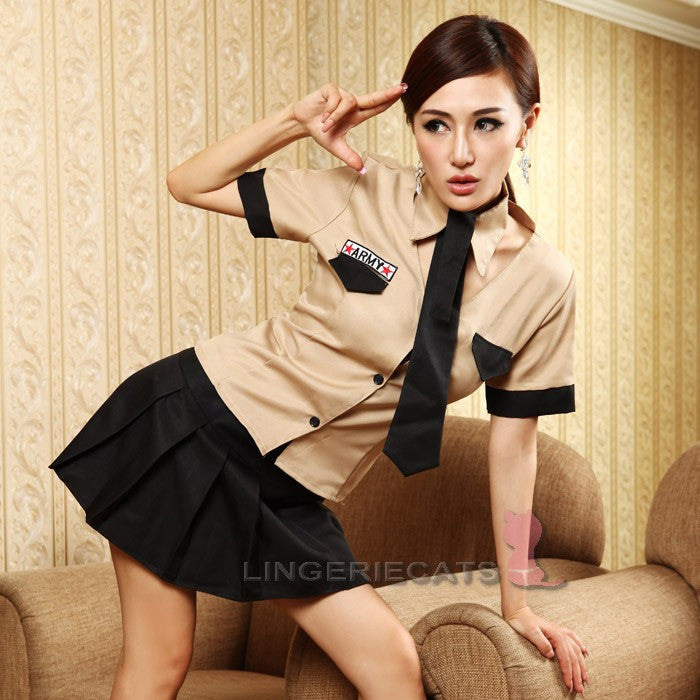 Sexy Khaki/Black Army Uniform 3 Piece Cosplay Dress