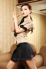 Sexy Khaki/Black Army Uniform 3 Piece Cosplay Dress - LingerieCats