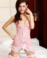 Sexy Pink Dotted See-Through Babydoll Lingerie - LingerieCats