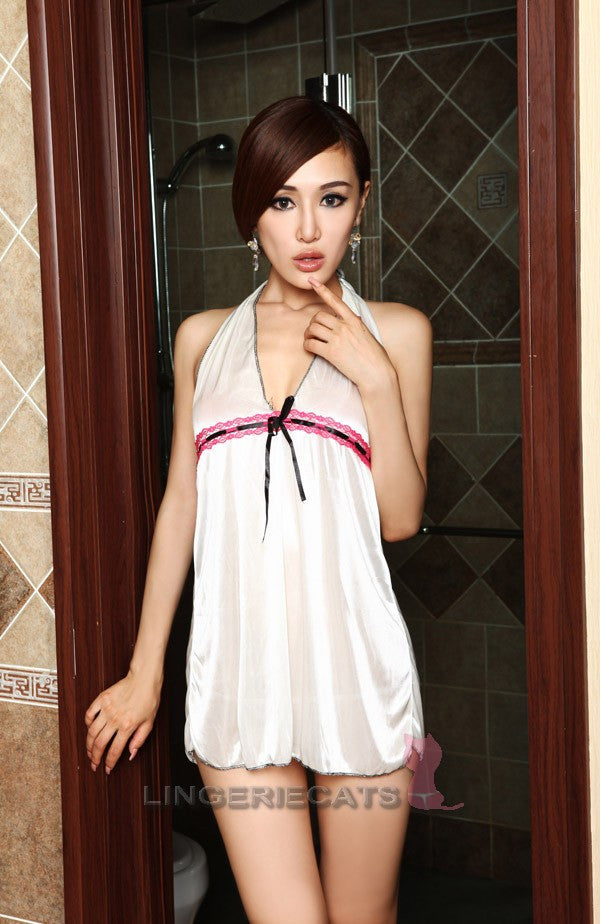 Sweet White Babydoll Lingerie Lace Short Dress - LingerieCats