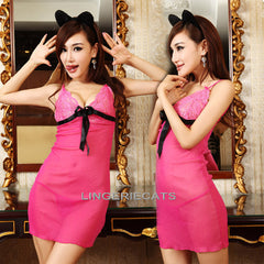 Rose Sexy Babydoll Lingerie Dress