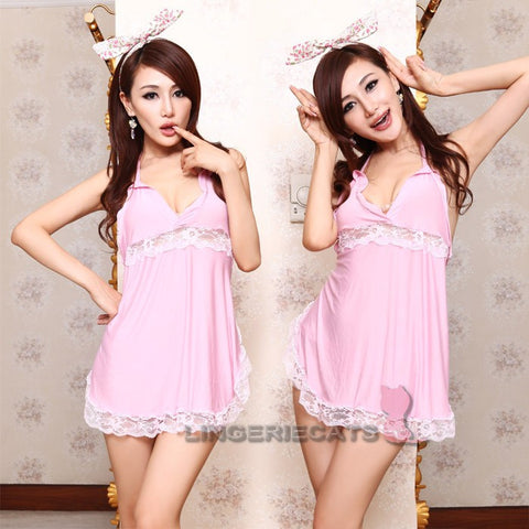 Sexy Pink Babydoll Slip Dress
