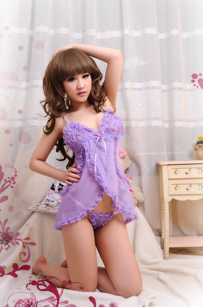 Hot Sexy Open Front Purple Babydoll Lingerie - LingerieCats