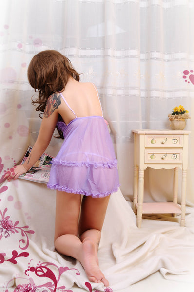 Hot Sexy Open Front Purple Babydoll Lingerie