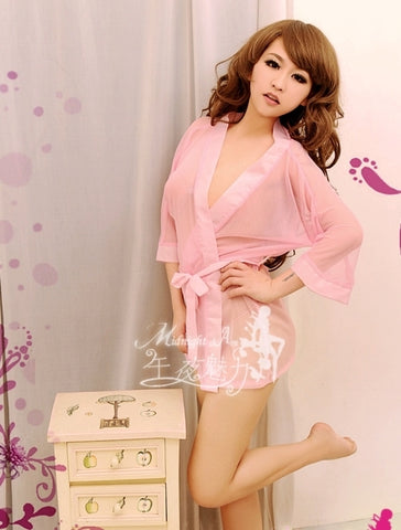 Pink See-through Kimono Lingerie Robe