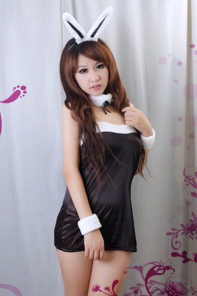 Black Sexy Dress Lingerie Costume Outfit Rabbit Girl - LingerieCats