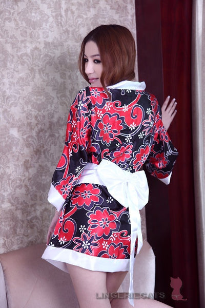 Sexy Red/Black Japanese Kimono Lingerie Robe - LingerieCats