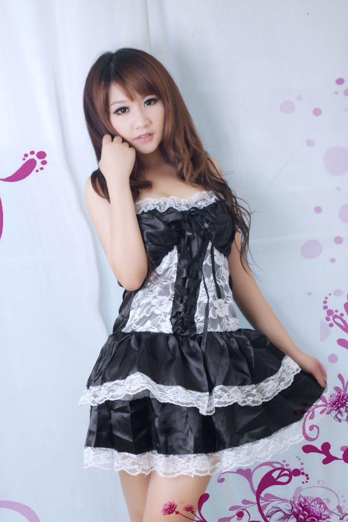 Sexy Lolita Princess Clubwear Costume Black Dress - LingerieCats