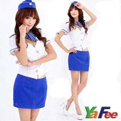 Sexy Flight Attendant Costume White/Blue - LingerieCats