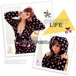 Charming Dots Coral Fleece Hooded Robe - LingerieCats