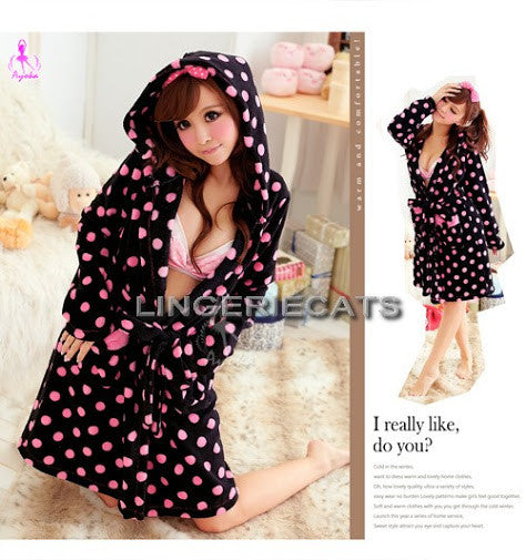 Charming Dots Coral Fleece Hooded Robe