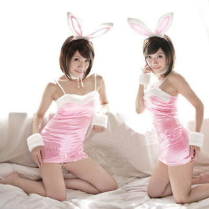 Pink Sexy Dress Lingerie Costume Outfit Rabbit Girl - LingerieCats