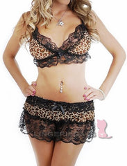 Leopard Lingerie Bikini Bra and Skirt Set