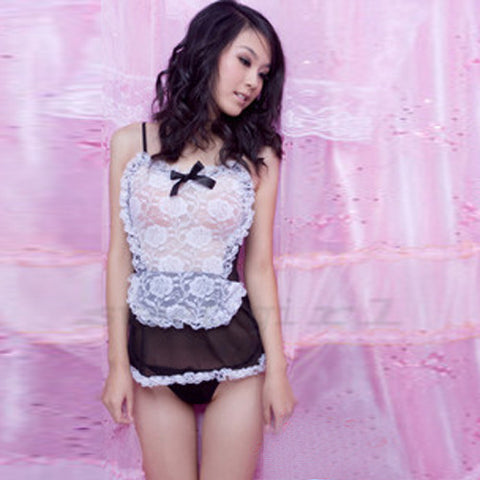 Sexy Black Maid Babydoll Costumes Lingerie Dress+G-string