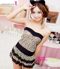 Cute Leopard Lingerie Short Dress with Ear Headpiece - LingerieCats