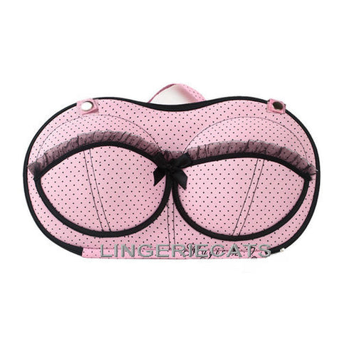 Cute Pink Dot Bra Travel Bag