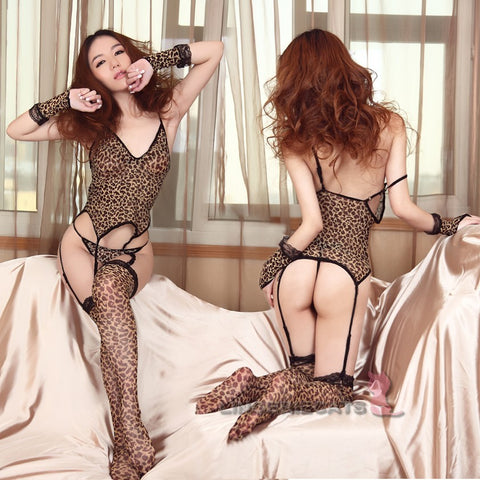 Exotic Leopard Lingerie Kitty 6 Piece (2 Sizes) Set - LingerieCats